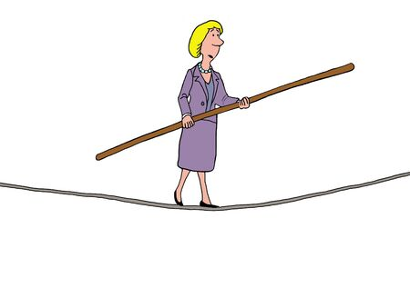 business confidence: Color illustration of a businesswoman walking a tightrope. Stock Photo