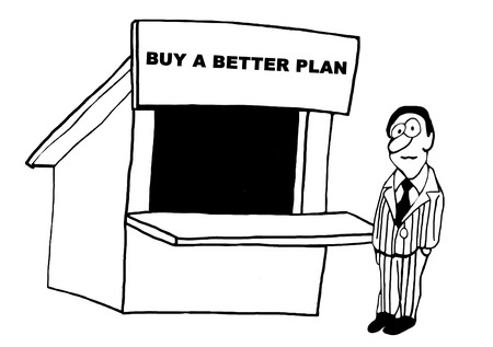 Black and white business illustration to buy a better plan.