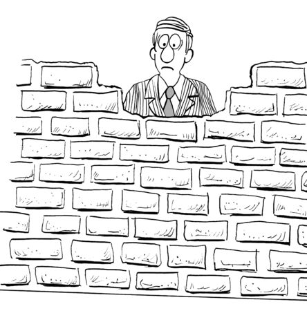 downsized: Black and white illustration of a frowning man blocked by a large wall.