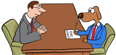 staffing: Color business illustration of a new employee signing the loyalty oath.