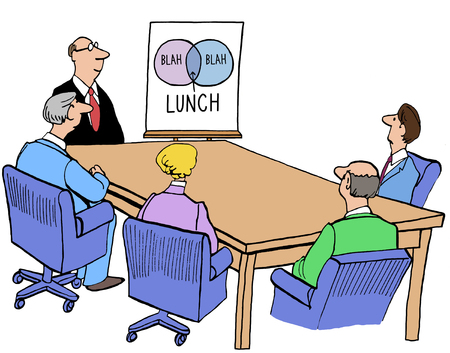 Color business illustration of Venn diagram showing lunch break. Imagens - 66164224
