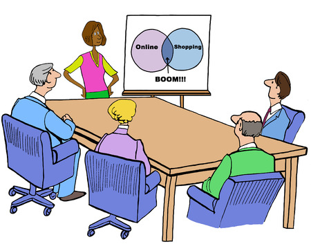 Color Business Illustration Of Meeting And Venn Diagram On Online