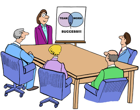 teammates: Color business illustration of meeting and Venn diagram about team, work, success. Stock Photo