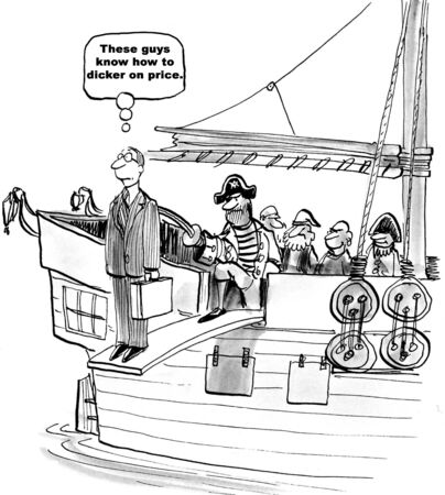 purchasing manager: Black and white cartoon of a pirate who wants to dicker on price.
