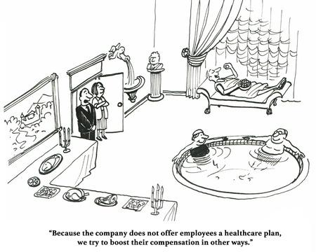 Bande dessinée d'affaires d'une entreprise qui ne peut pas se payer une assurance santé pour les employés. Banque d'images - 67871123
