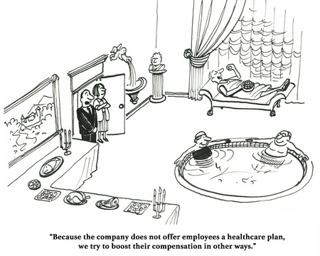 hot tub: Business cartoon about a company that cannot afford health insurance for employees.