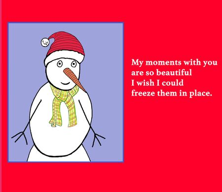 ecstasy: Color illustration of a snowman wish romantic verse.