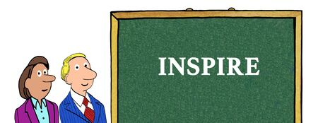 rd: Color illustration of two people and the word inspire. Stock Photo