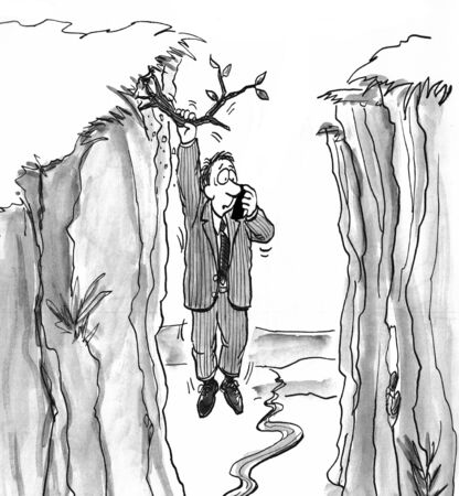 cliffs: Black and white illustration of a man dangling from a branch calling for help.