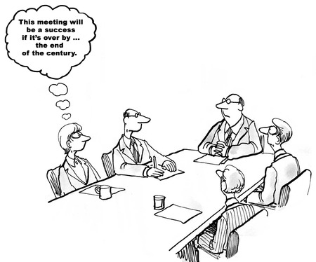 really: Black and white business illustration about a really long meeting.