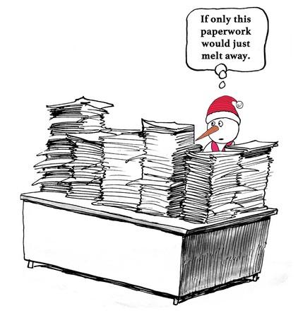 Beeldverhaal over de enorme stapels papierwerk de sneeuwpop werknemer wenst zou wegsmelten.