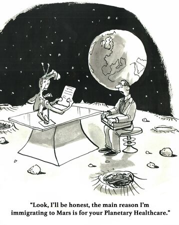 immigrate: Cartoon about the high cost of health insurance requiring moving to a different planet.