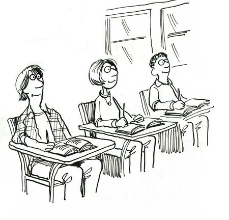 eager: Black and white education illustration of three smiling students in class. Stock Photo