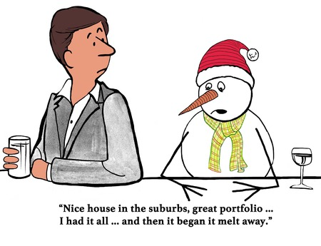 suburbia: Cartoon about a snowman man who feels he is losing everything he has worked for.