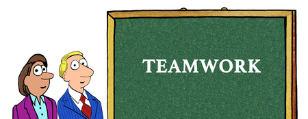 unify: Color illustration of two businesspeople and the word teamwork.