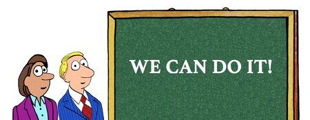 Color illustration of businesspeople and the words 'we can do it'.