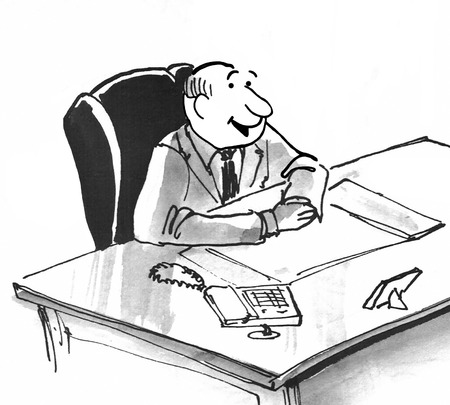 Black and white illustration of a smiling businessman sitting at his desk.