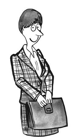 knowledgeable: Black and white illustration of a smiling career woman carrying a briefcase.