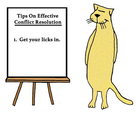 disagree: Color business illustration about conflict resolution tip.