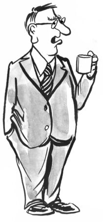 Black and white illustration of a businessman drinking a cup of coffee.