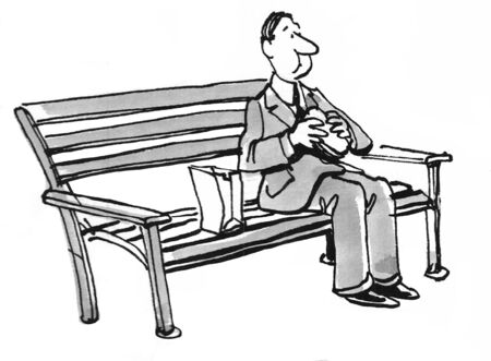 Zwart-witte illustratie van een zakenman die een bruine zak lunch eet.