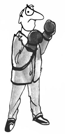 Black and white business illustration of man wearing boxing gloves in boxing pose.