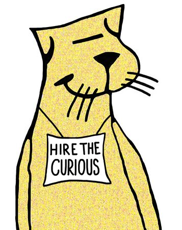 Color business illustration encouraging hire the curious.