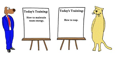very: Business cartoon about two very different approaches to training.