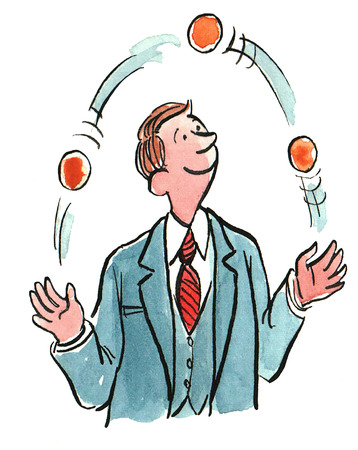 Color business illustration of a businessman juggling many balls. Stock Photo