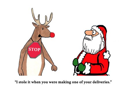 Color Christmas cartoon of Rudolph stealing a STOP sign.