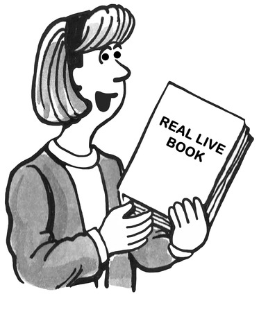 enjoyable: Black and white illustration of a female teacher holding a real, live book.