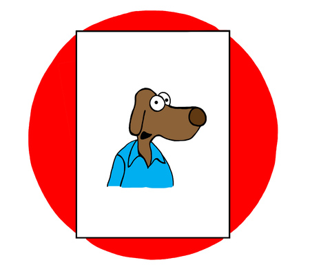 Color illustration of smiling dog wearing blue shirt.