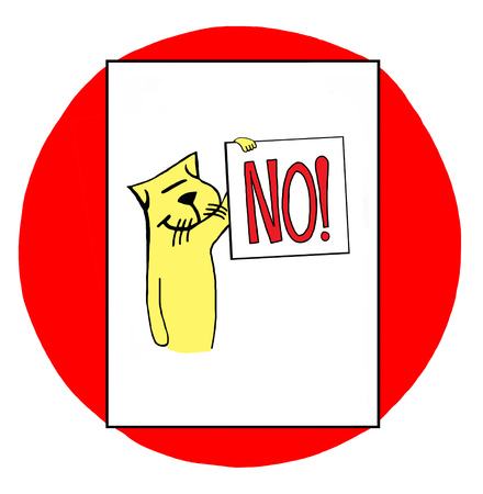 adamant: Color illustration of a cat holding the sign no.