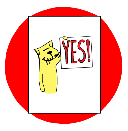 Color illustration of a cat holding the sign yes.