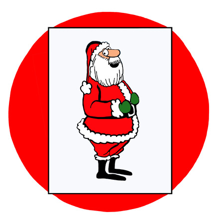 rotund: Color illustration of a standing and smiling Santa Claus. Stock Photo