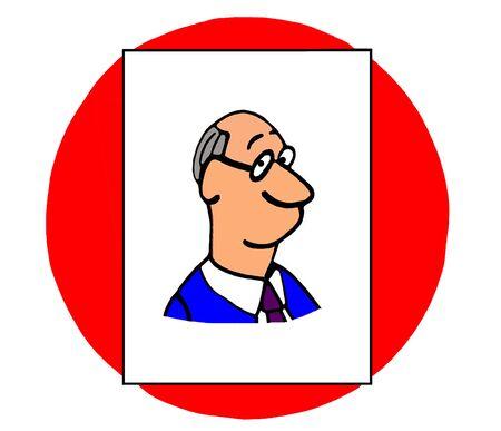 Color business illustration of smiling businessman.