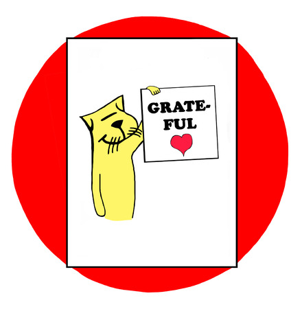 goodness: Color illustration of a cat holding a sign grateful. Stock Photo
