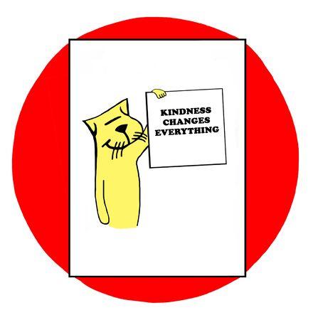 Color illustration of a cat holding sign kindness changes everything. Reklamní fotografie