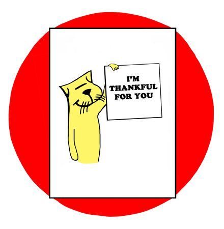 kitty: Color illustration of cat holding sign  Im thankful for you. Stock Photo