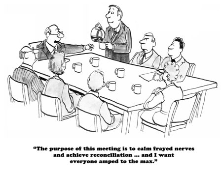 calm down: Black and white business cartoon about amping up to calm down.