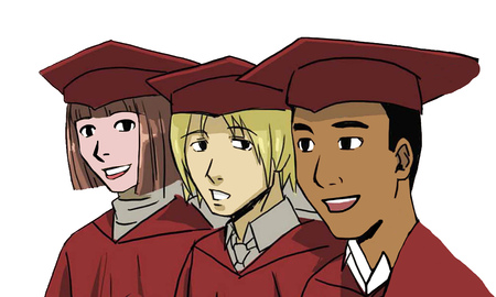 Color education illustration of three smiling students on graduation day. Stock Photo