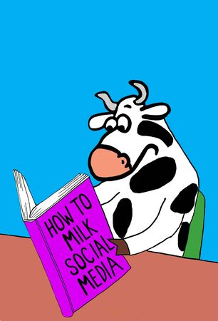 likes: Color business illustration about how to milk social media.