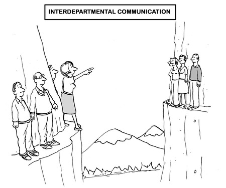 Black and white business illustration about a lack of interdepartmental communication. Stok Fotoğraf