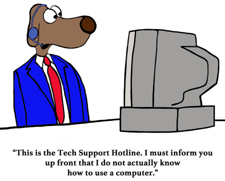 gag: Color business cartoon about an inept customer service rep.