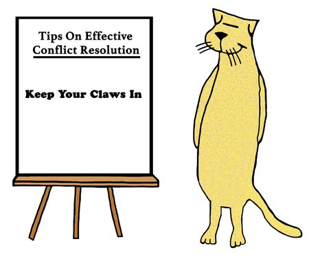 Business cartoon about conflict resolution showing a cat with the tip ' keep your claws in'.
