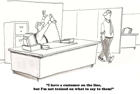gag: Business cartoon about a salesman lacking the training to answer the customers questions.