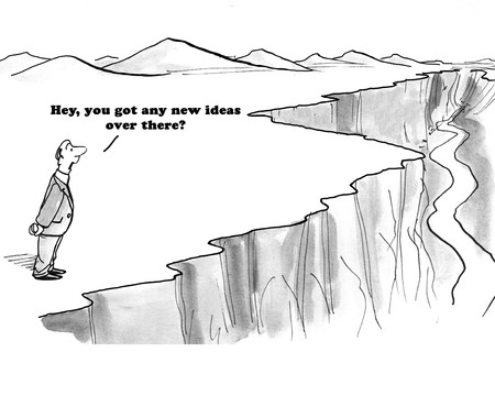 Business cartoon about a businessman looking for new ideas in the wilderness.