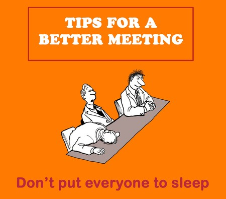 Business cartoon about tips for a better meeting: do not put your audience to sleep.