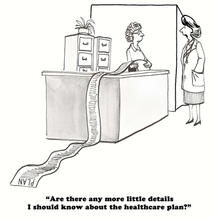 gag: Medical cartoon about the many details of the new health insurance plan that the doctor has to learn.
