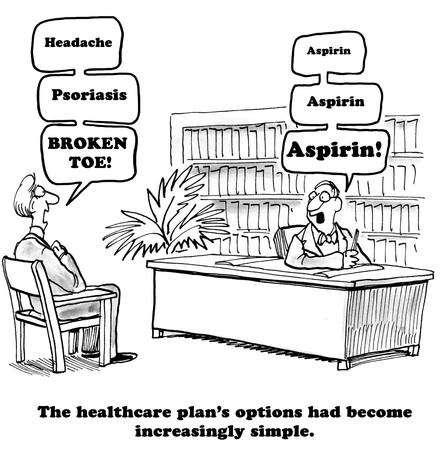 males only: Medical cartoon about the health insurance plans options becoming very simple. Stock Photo